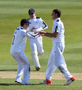 Ryan McLaren celebrates the wicket of Sam Hain, Specsavers County Championship, Division One, Ageas Bowl, 3rd day, April 12, 2016