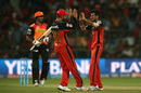 Yuzvendra Chahal is congratulated after dismissing Deepak Hooda, Royal Challengers Bangalore v Sunrisers Hyderabad, IPL 2016, Bangalore, April 12, 2016