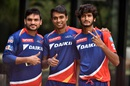 Pawan Suyal, Chama Milind and Khaleel Ahmed pose for a photograph, Delhi, IPL 2016, April 13, 2016