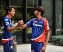 Comrades-in-arms: Chama Milind and Khaleel Ahmed share a lighter moment, Delhi, IPL 2016, April 13, 2016