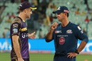 Kolkata Knight Riders assistant coach Simon Katich and Mumbai Indians head coach Ricky Ponting have a chat, Kolkata Knight Riders v Mumbai Indians, IPL 2016, Kolkata, April 13, 2016
