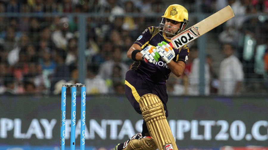 Kolkata Knight Riders captain Gautam Gambhir works one through the on side
