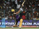 Manish Pandey goes big over the on side, Kolkata Knight Riders v Mumbai Indians, IPL 2016, Kolkata, April 13, 2016