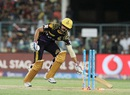 Manish Pandey makes it back to his crease even as the bails are clipped off, Kolkata Knight Riders v Mumbai Indians, IPL 2016, Kolkata, April 13, 2016