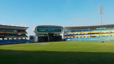 The press box inside the Saurashtra Cricket Stadium