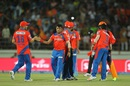 Pravin Tambe celebrates one of his two wickets, Gujarat Lions v Rising Pune Supergiants, IPL 2016, Rajkot, April 14, 2016