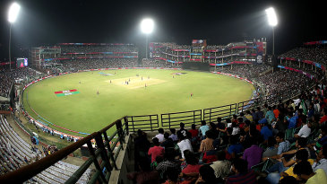 Overview of the Feroz Shah Kotla under lights