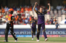 Morne Morkel celebrates the wicket of Shikhar Dhawan, Sunrisers Hyderabad v Kolkata Knight Riders, IPL 2016, Hyderabad, April 16, 2016