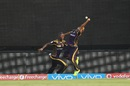 Piyush Chawla stretches to complete an outstanding relay catch with Andre Rusell, Sunrisers Hyderabad v Kolkata Knight Riders, IPL 2016, Hyderabad, April 16, 2016