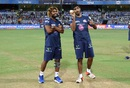 The master and the protégé: Lasith Malinga and Jasprit Bumrah have a chat, Mumbai Indians v Gujarat Lions, IPL 2016, Mumbai, April 16, 2016