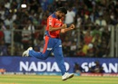 Shadab Jakati celebrates a wicket, Mumbai Indians v Gujarat Lions, IPL 2016, Mumbai, April 16, 2016