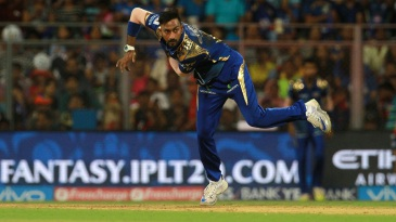 Krunal Pandya sends one down