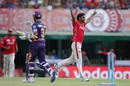 Sandeep Sharma celebrates after cleaning up Ajinkya Rahane, Kings XI Punjab v Rising Pune Supergiants, IPL 2016, Mohali, April 17, 2016