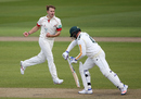 Kyle Jarvis made the early breakthroughs for Lancashire, Lancashire v Nottinghamshire, Specsavers County Championship, Division One, Old Trafford, 1st day, April 17, 2016