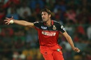 David Wiese sticks his hand out to field off his own bowling, Royal Challengers Bangalore v Delhi Daredevils, IPL 2016, Bangalore, April 17, 2016