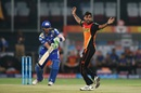Bhuvneshwar Kumar successfully appeals for a caught behind against Martin Guptill, Sunrisers Hyderabad v Mumbai Indians, IPL 2016, Hyderabad, April 18, 2016