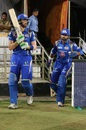 Martin Guptill and Parthiv Patel walk out to the field, Sunrisers Hyderabad v Mumbai Indians, IPL 2016, Hyderabad, April 18, 2016