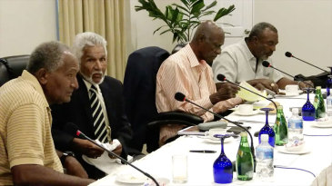 Members of the West Indies Legends panel, including Andy Roberts and Deryck Murray, meet in Grenada