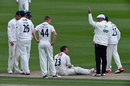 The Essex players and the umpires check on Chris Nash, Sussex v Essex, County Championship, Division Two, Hove, 3rd day, April 19, 2016