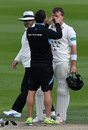 Chris Nash gets checked over by the physio, Sussex v Essex, County Championship, Division Two, Hove, 3rd day, April 19, 2016