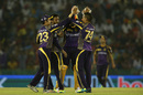 Sunil Narine is congratulated on the wicket of Wriddhiman Saha, Kings XI Punjab v Kolkata Knight Riders, IPL 2016, Mohali, April 19, 2016