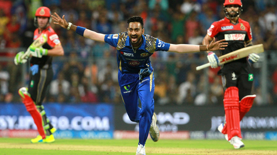 Krunal Pandya starts a celebratory run after dismissing Virat Kohli