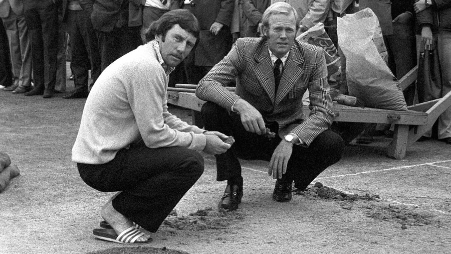 Tony Greig and Ian Chappell inspect the vandalised pitch