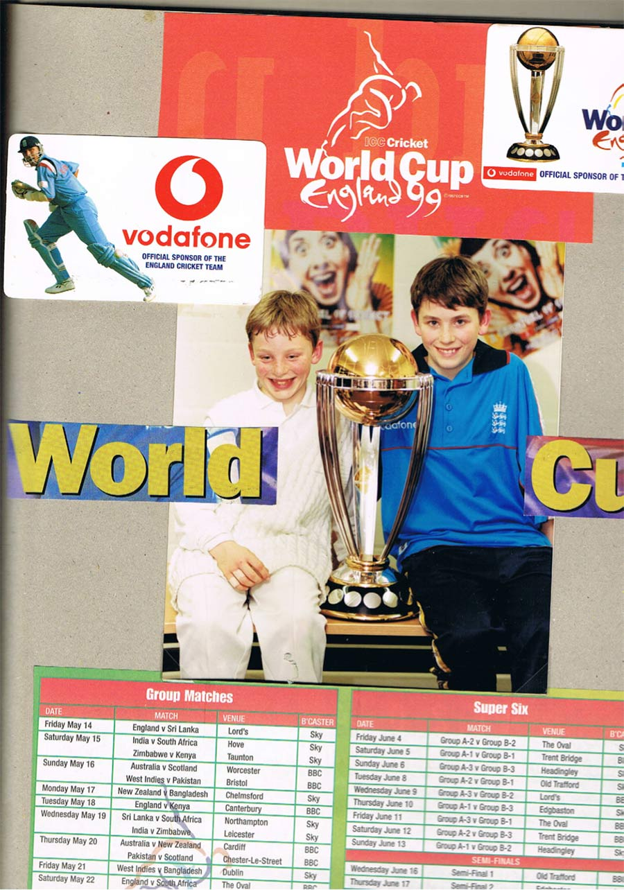 All freckles, fringe and smile: Jos (left) at eight, with brother James at a promotional event for the 1999 World Cup