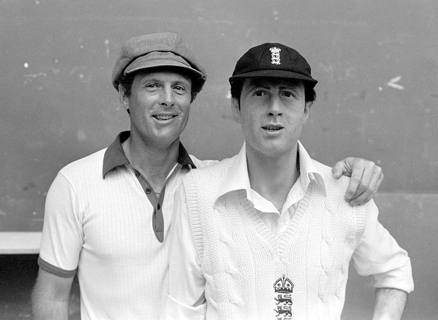 Geoff Boycott poses next to his wax statue