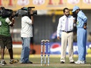 Rahul Dravid speaks to Arun Lal at the toss, India v West Indies, 2nd ODI, Cuttack, January 24, 2007