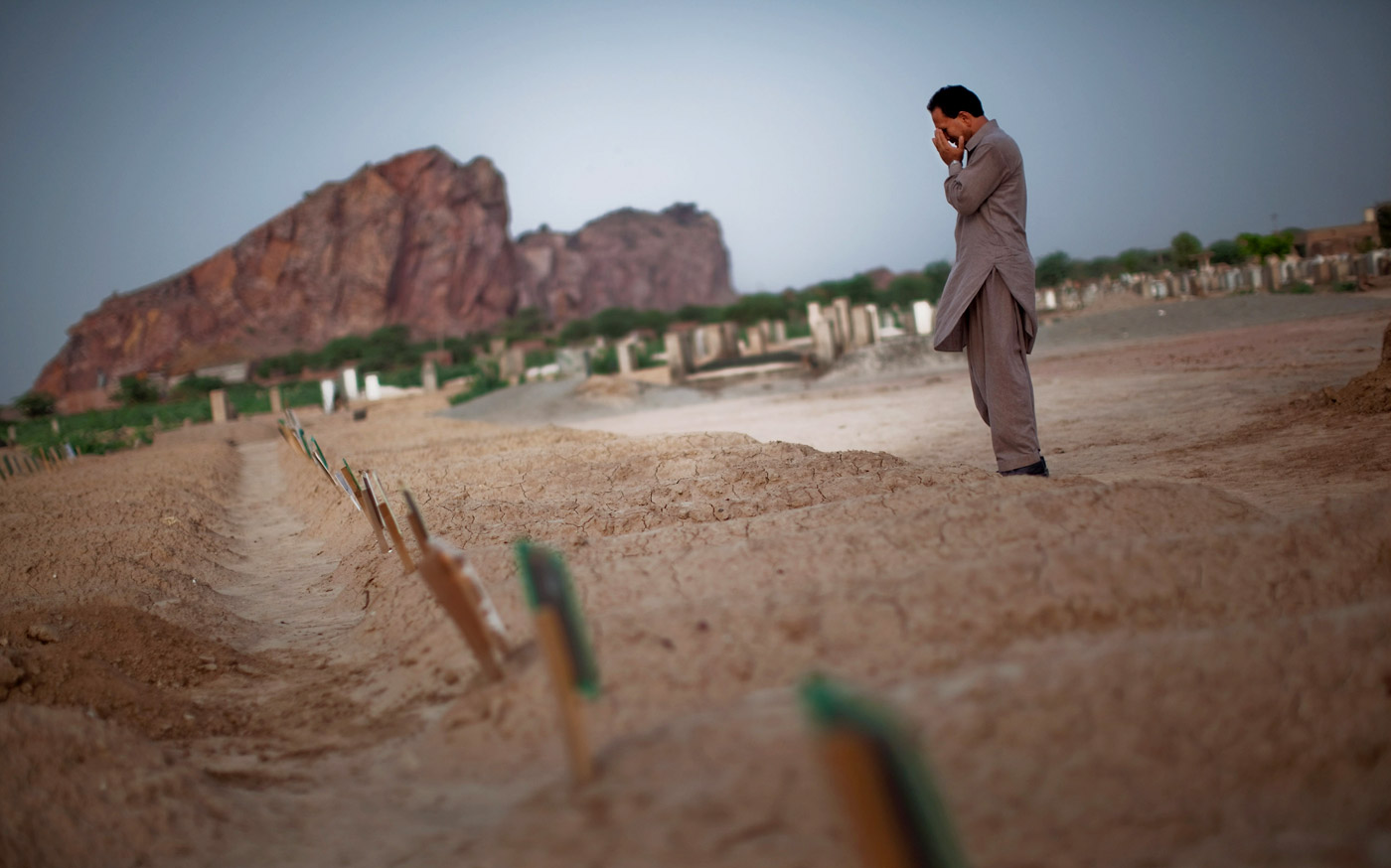 The graves in Rabwah of victims killed in the attack on Ahmadiyya mosques in Lahore in May 2010
