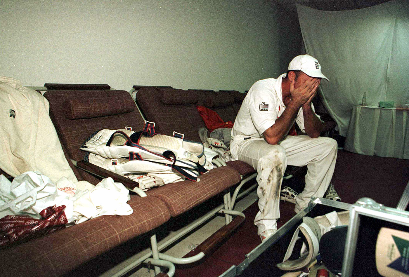 An emotional Hussain after steering England to a dramatic series victory in Karachi in 2000