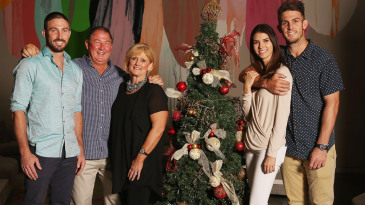 Shaun and Mitchell Marsh with their parents, Geoff and Michelle, and Mitchell's partner, Isabelle Platt at a Christmas lunch in Melbourne