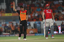 Moises Henriques struck twice in the tenth over, Sunrisers Hyderabad v Kings XI Punjab, IPL 2016, Hyderabad, April 23, 2016