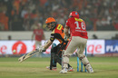 Eoin Morgan executes the late cut, Sunrisers Hyderabad v Kings XI Punjab, IPL 2016, Hyderabad, April 23, 2016