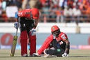 Virat Kohli is down in pain after spraining his ankle, Gujarat Lions v Royal Challengers Bangalore, IPL 2016, Rajkot, April 24, 2016