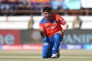 Pravin Tambe is pumped up after taking the big wicket of AB de Villiers, Gujarat Lions v Royal Challengers Bangalore, IPL 2016, Rajkot, April 24, 2016