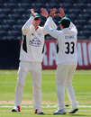 Matt Henry is congratulated after running out Cameron Bancroft, Gloucestershire v Worcestershire, County Championship, Division Two, Bristol, 1st day, April 24, 2015