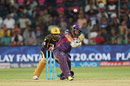 Albie Morkel plays a big shot on one knee, Rising Pune Supergiants v Kolkata Knight Riders, IPL 2016, Pune, April 24, 2016