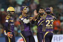 R Sathish is congratulated after a wicket, Rising Pune Supergiants v Kolkata Knight Riders, IPL 2016, Pune, April 24, 2016