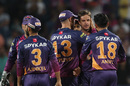 Albie Morkel is congratulated after his first-ball wicket, Rising Pune Supergiants v Kolkata Knight Riders, IPL 2016, Pune, April 24, 2016