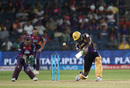 Andre Russell drills a massive six over long-off, Rising Pune Supergiants v Kolkata Knight Riders, IPL 2016, Pune, April 24, 2016