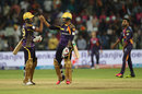 Umesh Yadav and Sunil Narine celebrate after Kolkata Knight Riders' win, Rising Pune Supergiants v Kolkata Knight Riders, IPL 2016, Pune, April 24, 2016