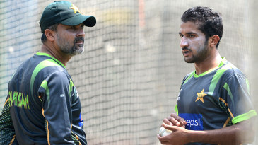 Moin Khan and Bilawal Bhatti at the nets