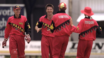 Andy Flower, John Rennie, Alistair Campbell and Paul Strang celebrate