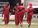 Andy Flower, John Rennie, Alistair Campbell and Paul Strang celebrate, Zimbabwe v England, 1st ODI, Bulawayo, December 15, 1996