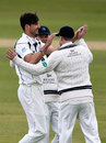 Steven Finn is congratulated after claiming the wicket of Keaton Jennings, Durham v Middlesex, County Championship, Division One, Chester-le-Street, 2nd day, April 25, 2015