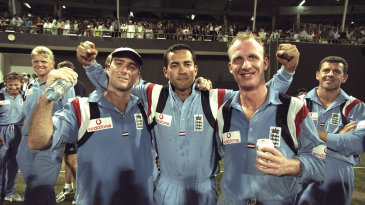 Graham Thorpe, Adam Hollioake and Matthew Fleming (from left) celebrate England's win