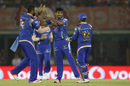 Jasprit Bumrah celebrates the wicket of Manan Vohra, Kings XI Punjab v Mumbai Indians, IPL 2016, Mohali, April 25, 2016