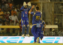 Mitchell McClenaghan and Parthiv Patel celebrate a wicket, Kings XI Punjab v Mumbai Indians, IPL 2016, Mohali, April 25, 2016